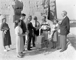 Asst. Sec. of the Int. Lewis meeting visitors at Casa Grande in 1955