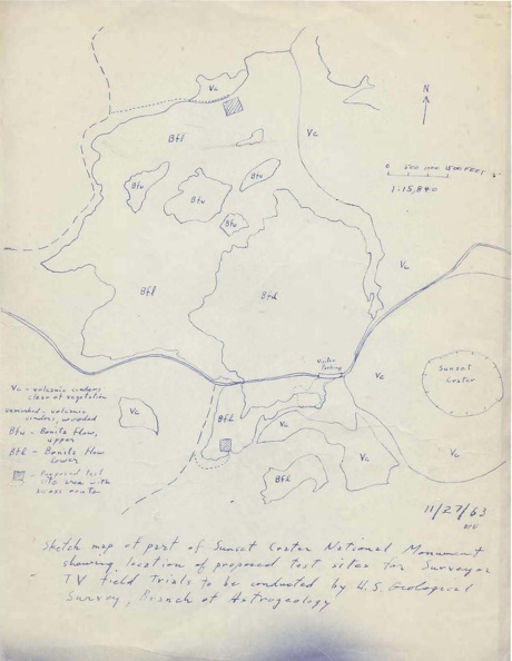 1963 Map of the Surveyor Test Locations