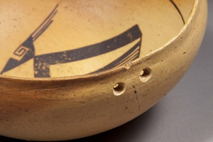 Bidahochi Polychrome Bowl, Mend Hole Detail