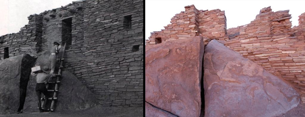 Historic photo of reconstructed room at Wupatki Pueblo and modern photo showing restoration