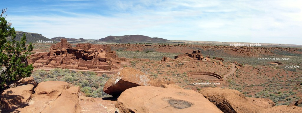 Wupatki Pueblo and surrounding features, including old spring, community room, ballcourt, blowhole, and neighboring pueblo