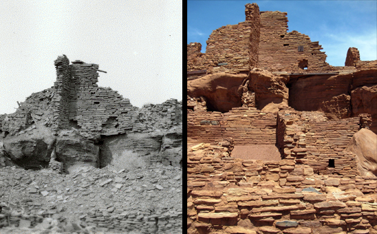 Comparative historic and modern photos of Wupatki Pueblo showing rubble that buried rooms prior to excavation