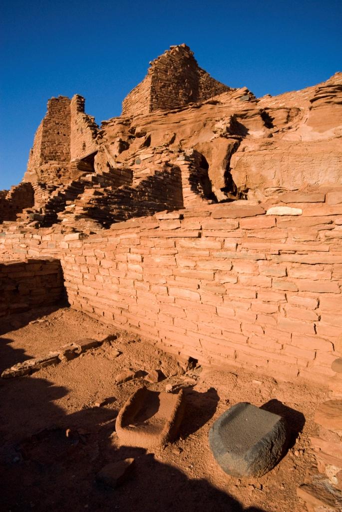 Metates (milling stones) in a room at Wupatki Pueblo