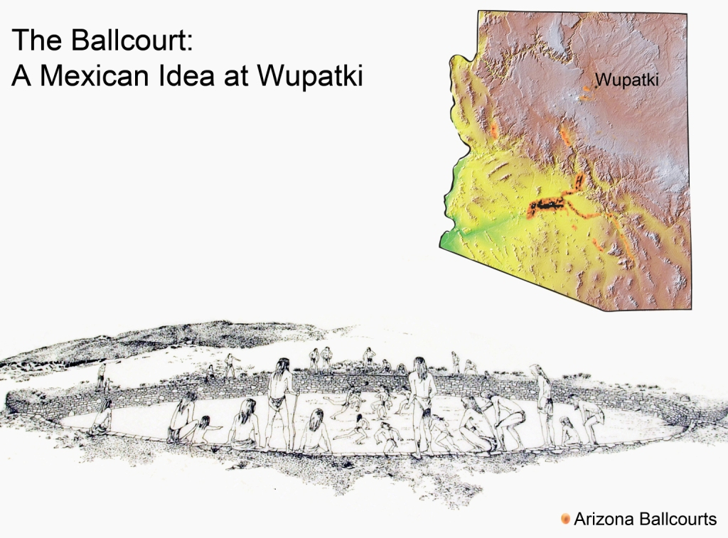 Artist's reconstruction of a ball game at Wupatki and distribution of ballcourts in Arizona