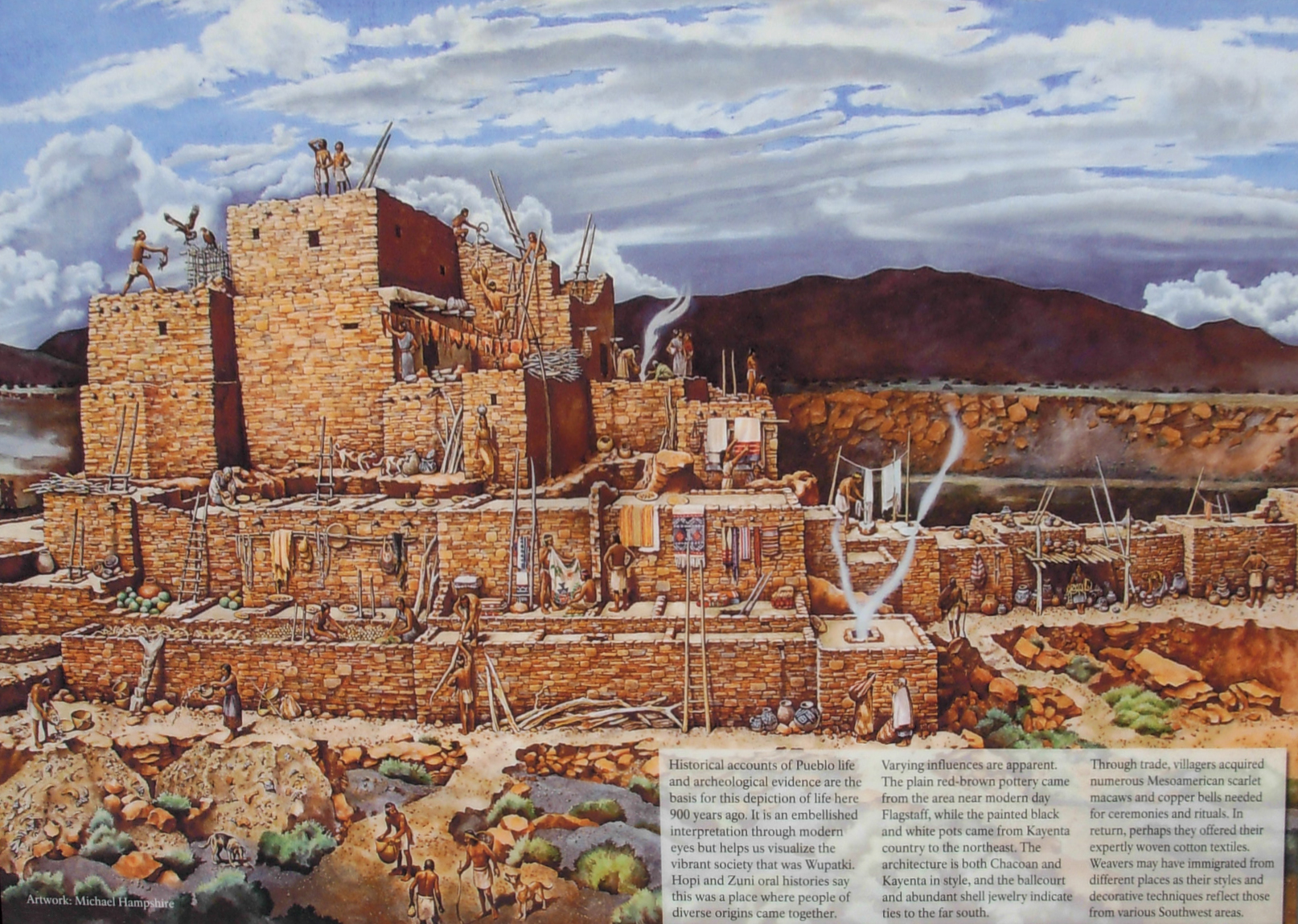 Interpretation panel on the overlook for Wupatki Pueblo