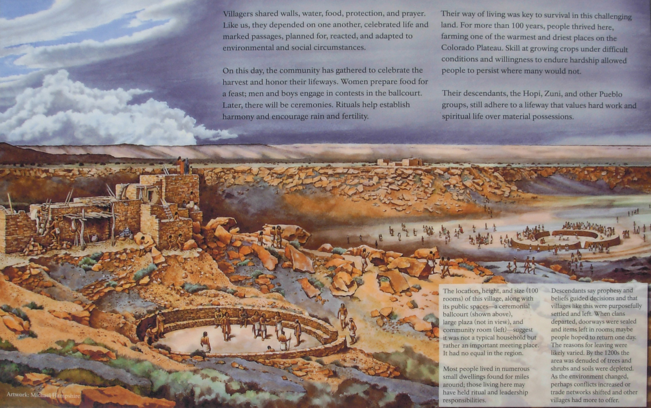 Interpretative panel on the overlook for Wupatki Pueblo