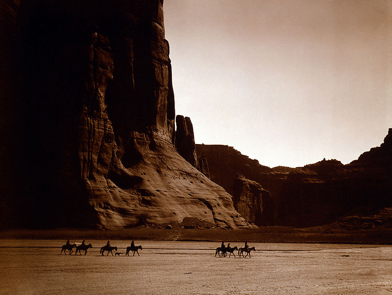 Navajo Riders in Canyon de Chelly, ca. 1904.  Photo Credit: Edward S. Curtis; Original image held in the Library of Congress Prints and Photographs Division, Washington, D.C. 20540, USA; Call Number: LOT 12311. Additional information about this image can be found here