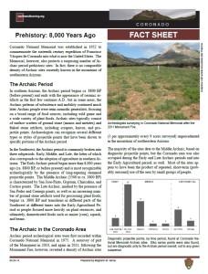 Prehistory of Coronado National Memorial fact sheet