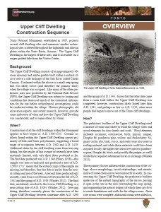 Construction Sequence, Upper Cliff Dwellings fact sheet