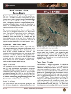 Tonto Basin Environment fact sheet