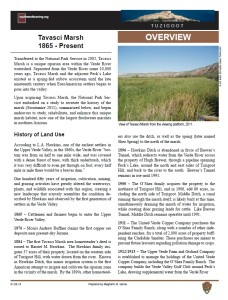 History of Tavasci Marsh fact sheet