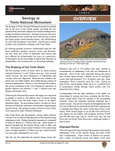 Geology at Tonto NM fact sheet