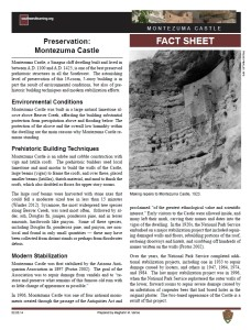 Preservation, Montezuma Castle fact sheet
