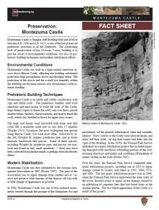Preservation, Montezuma Castle fact sheet