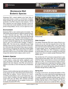 Endemic Species of Montezuma Well fact sheet