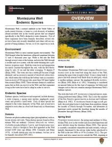 Endemic Species of Montezuma Well fact sheet