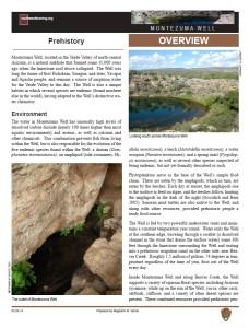 Prehistory of Montezuma Well fact sheet