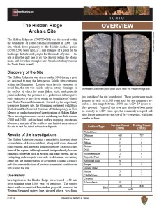 The Hidden Ridge Archaic Site fact sheet
