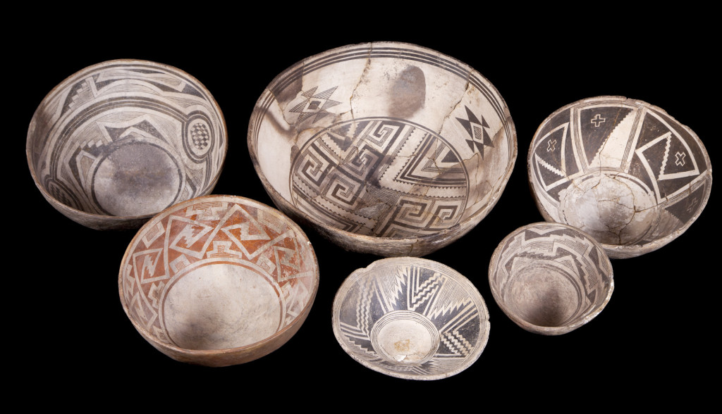 Mimbres bowls from the Museum of Northern Arizona collections.  Click the image to open the Mimbres Black-on-white gallery.