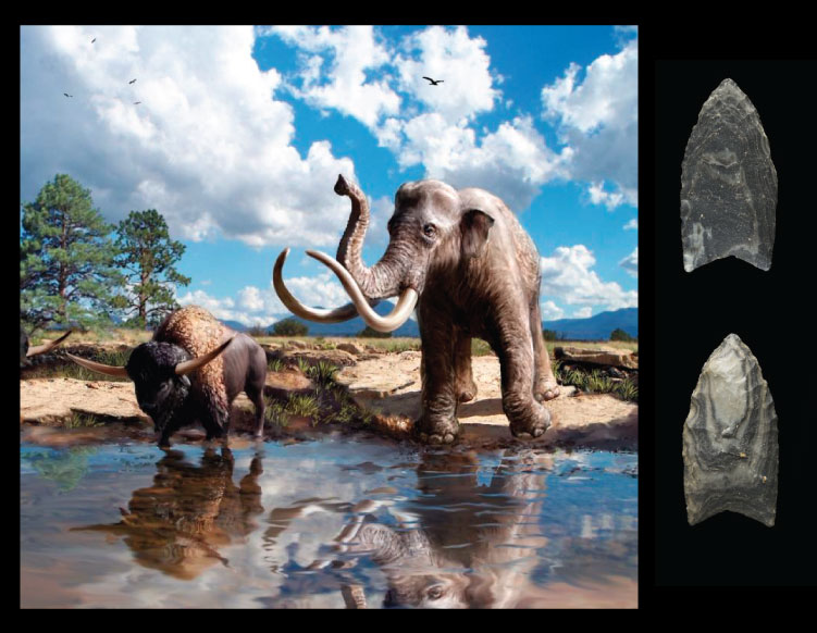 Wupatki during the Pleistocene, and a Clovis point from the same area.  Recreation by  Victor O. Leshyk; point images by Dan Boone/Ryan Belnap,  Bilby Research Center, Northern Arizona University.