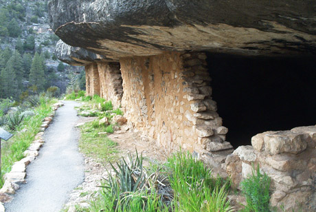 Sinagua cliff dwellings in Walnut Canyon National Monument.