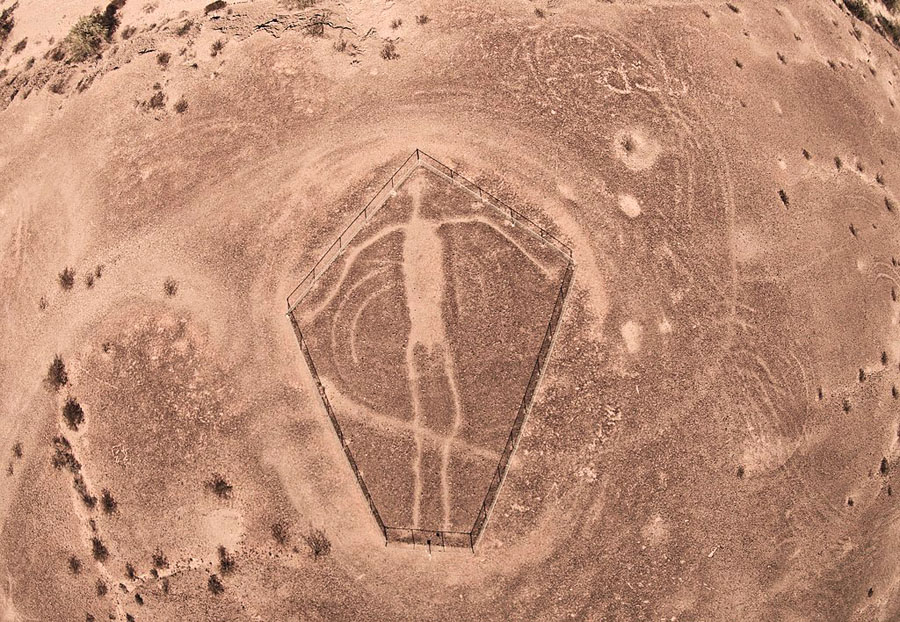 Massive-scale humanoid figure made by clearing rocks in desert pavement, Blythe Intaglios, California