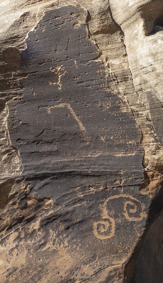 Pecked and scratched designs, including double spiral, WACA 209 Panel B, Walnut Canyon
