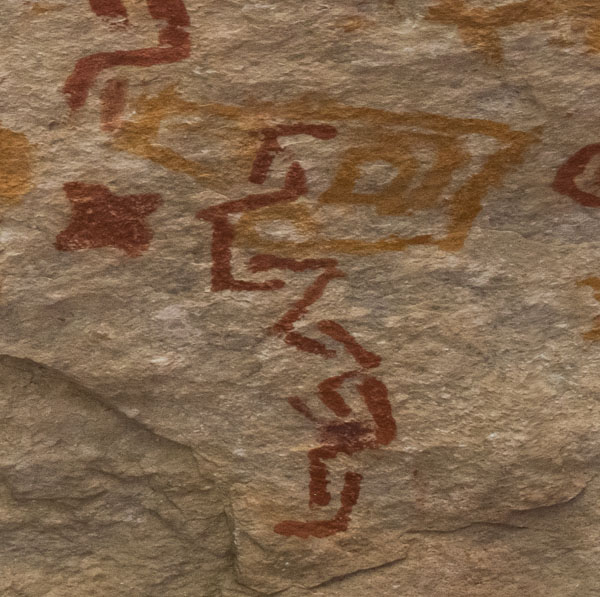 Red painted pictographs superimposed on orange painted pictographs, abstract designs, Walnut Canyon site WACA 503