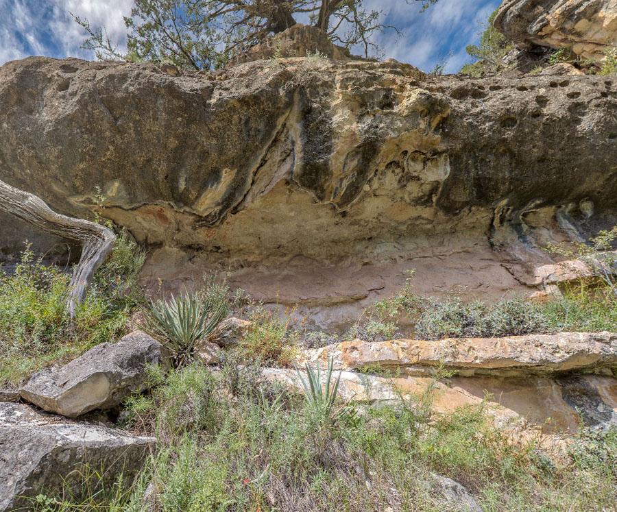 Kaibab limestone with painted petroglyphs, Walnut Canyon site WACA 180