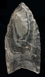 Gray banded obsidian Clovis projectile point, Wupatki National Monument, early Paleoindian period